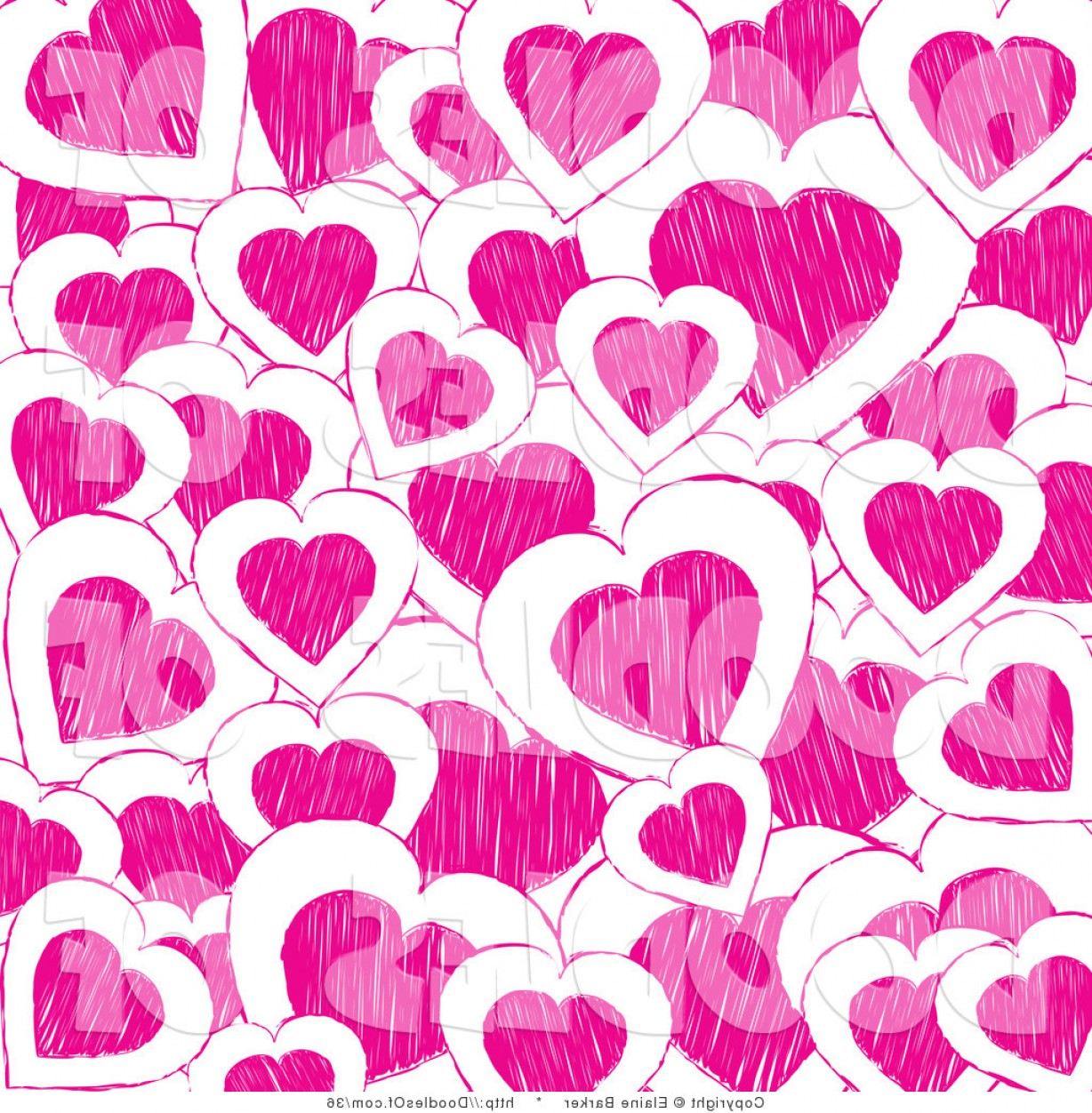 Valentines day clipart background vector free library Vector Clipart Of A Valentines Day Background Of Pink Doodle ... vector free library