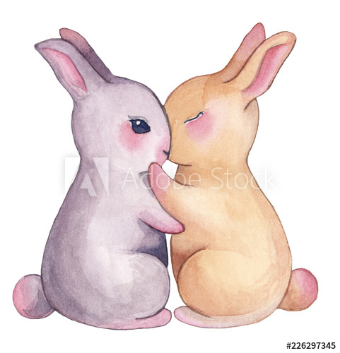 Valentines day clipart bunny black and white stock Watercolor bunny clipart illustration love valentine\'s day ... black and white stock