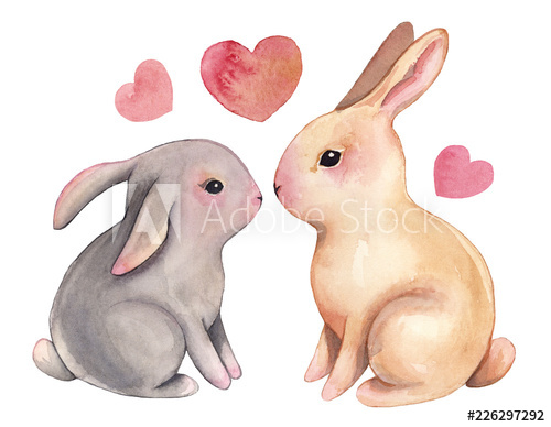 Valentines day clipart bunny image freeuse stock Watercolor bunny clipart illustration love valentine\'s day ... image freeuse stock
