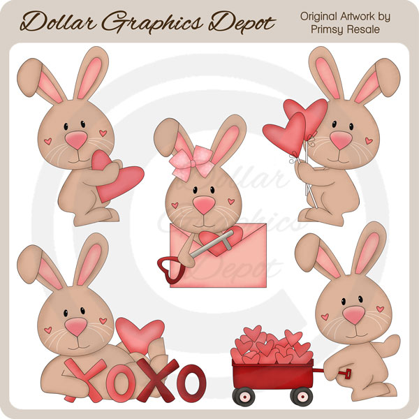 Valentines day clipart bunny png stock Valentine Bunnies 1 - Clip Art - $1.00 : Dollar Graphics ... png stock