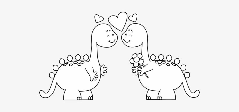Valentines day clipart dinsosaur svg library stock Dinosaurs In Clip Art - Valentine\'s Day Clip Art Black White ... svg library stock