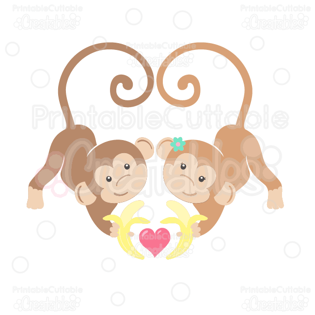 Valentines day clipart monkey vector library download Valentine\'s Love Monkeys Clipart and SVG Cut Files vector library download