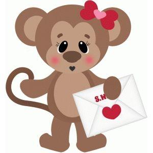Valentines day clipart monkey clip art freeuse Valentine monkey w envelope | Free Svg invites | Valentines ... clip art freeuse