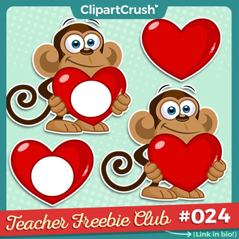 Valentines day clipart monkeys svg freeuse FREE Cartoon Monkeys Holding Heart Clipart, Valentine\'s Day Clip Art Freebie svg freeuse