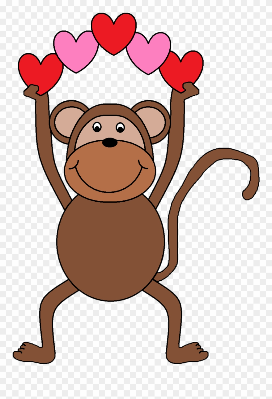 Valentines day clipart monkey svg black and white download Valentine\'s Day Clipart Monkey - Monkey Clip Art - Png ... svg black and white download