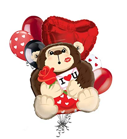 Valentines day clipart monkeys banner free download Amazon.com: 7 pc Gorilla in Love Balloon Bouquet Mine Hug ... banner free download
