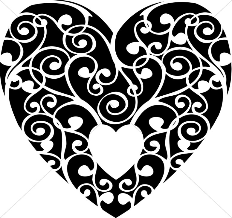 Whats inside the heart clipart image royalty free stock Black and White Swirls Heart | Valentines Day Clipart image royalty free stock