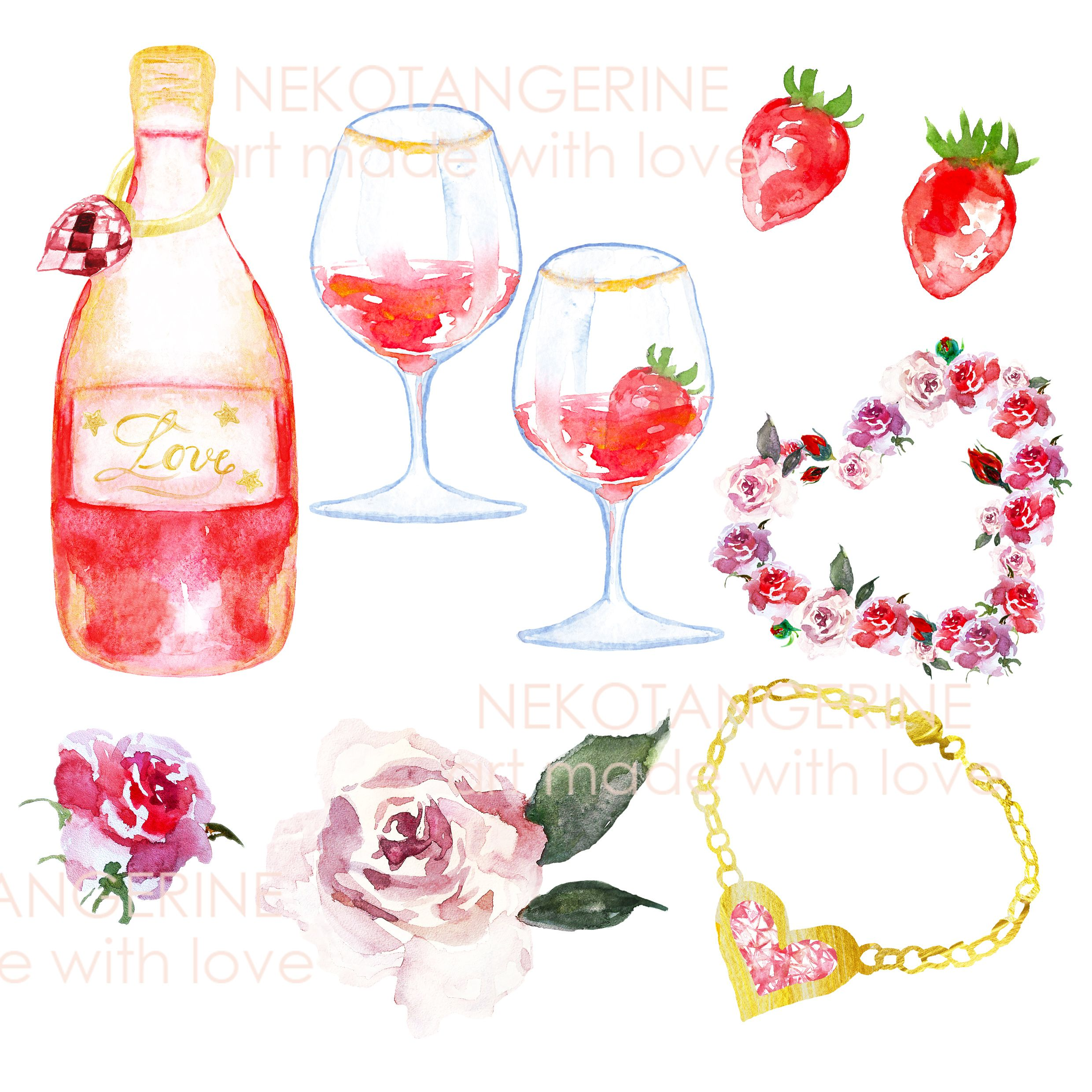 Valentines day clipart with wine vector black and white Valentines day clipart watercolor bundle Gold Pink Love ... vector black and white