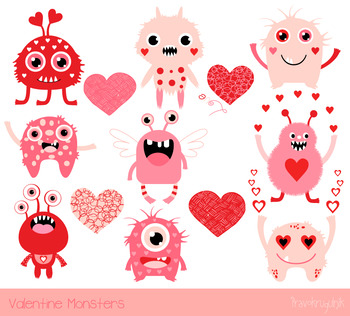 Sweet love clipart vector transparent stock Cute Valentine monsters clipart, Love clip art, Kawaii Valentine\'s day  monster vector transparent stock