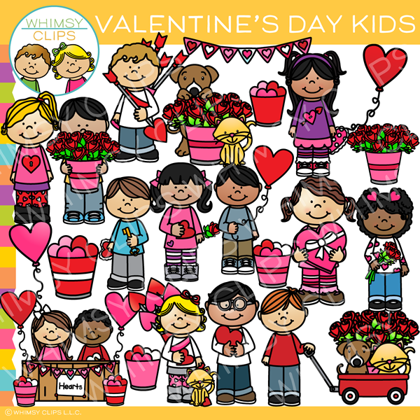 Valentines for kids clipart picture free Cute Valentine\'s Day Kids Clip Art picture free