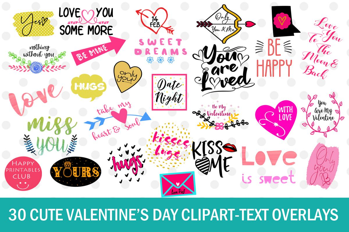 Valentines day cute clipart graphic black and white stock 30 Cute Valentines Day Clipart- Text Overlays- Quotes graphic black and white stock