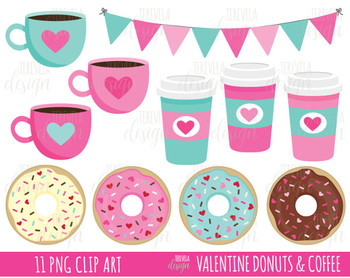 Valentines day donut clipart picture royalty free stock 50% SALE VALENTINE\'S DAY CLIPART, Coffee and donut clipart, donuts clipart,  LOVE picture royalty free stock