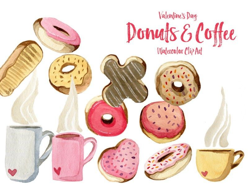 Valentines day donut clipart royalty free library Donuts and Coffee Valentines Day Clip Art   vízfesték   Clip ... royalty free library