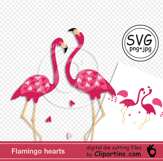 Valentines day flamingo clipart graphic black and white Flamingo svg cutting Valentines day svg file commercial use svg graphic black and white