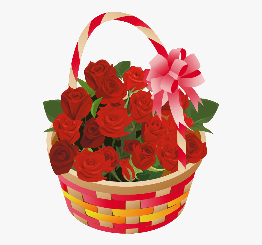 Valentine-s day flowers clipart jpg royalty free library Roses Basket Png Clipart - Valentines Day Basket Clipart ... jpg royalty free library