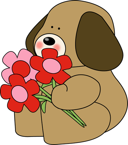 Valentine-s day flowers clipart graphic download Graphic Valentine Clip Art   Valentine\'s Day Dog with ... graphic download