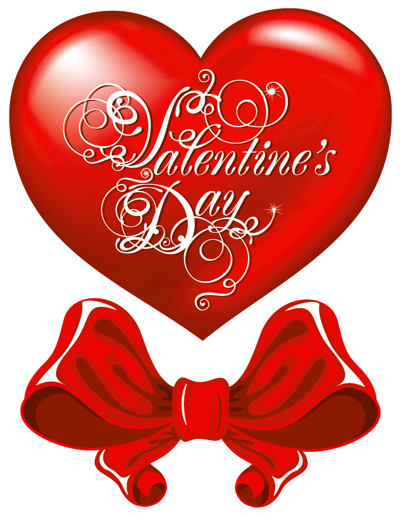 Valentines day hearts clipart transparent png free download Valentines Day Heart and Red Bow PNG Clipart Picture png free download