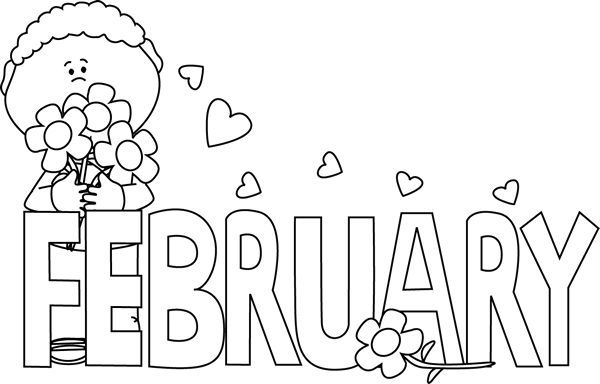 Valentines day lds b w clipart black and white Black and White February Valentine\'s Day | Clip Art-Months ... black and white