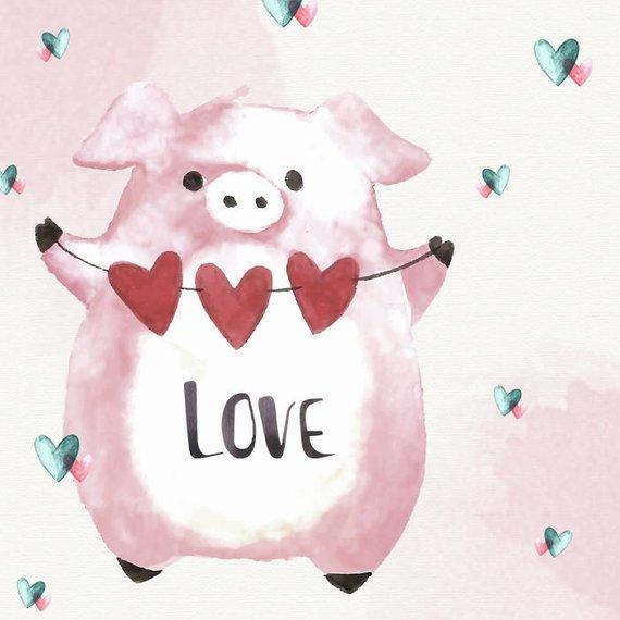 Valentines day pig clipart clip art transparent stock Valentines Animals Clipart Cute Animals Watercolor Animals ... clip art transparent stock