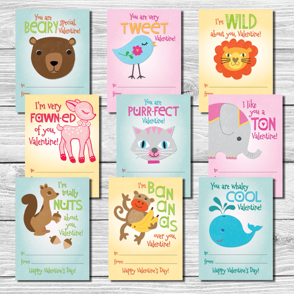 Valentines day sayings clipart free download Kids Valentine\'s Day Cards Set of 9 \