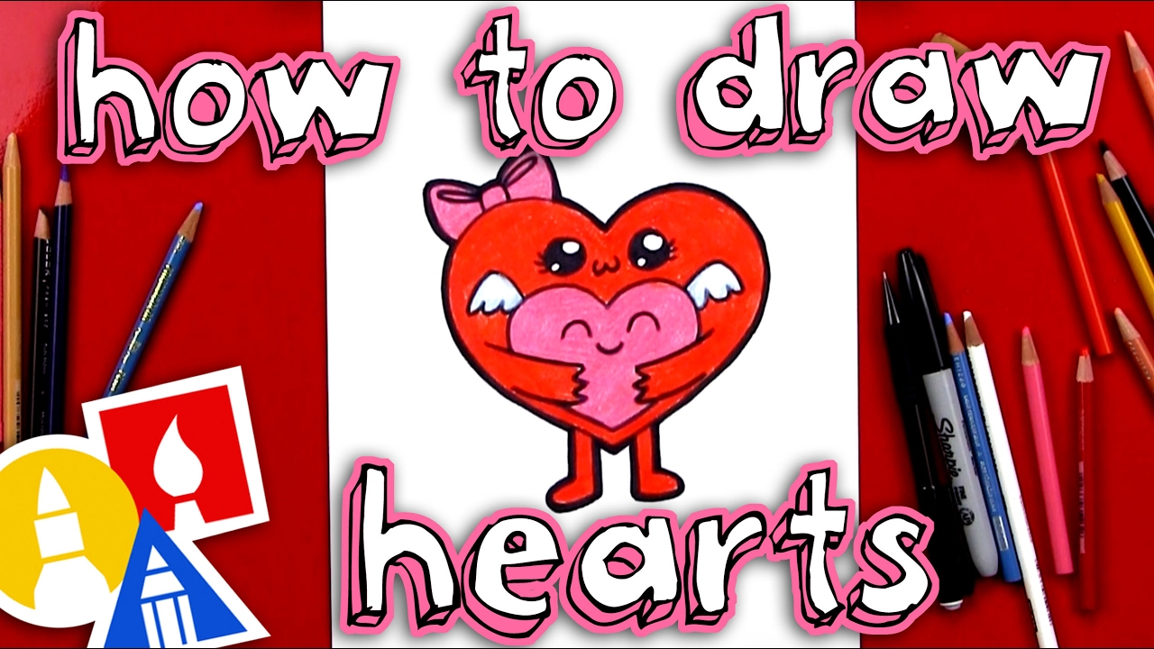 Valentines scene kid clipart vector black and white library How To Draw Hugging Hearts For Valentine\'s Day vector black and white library