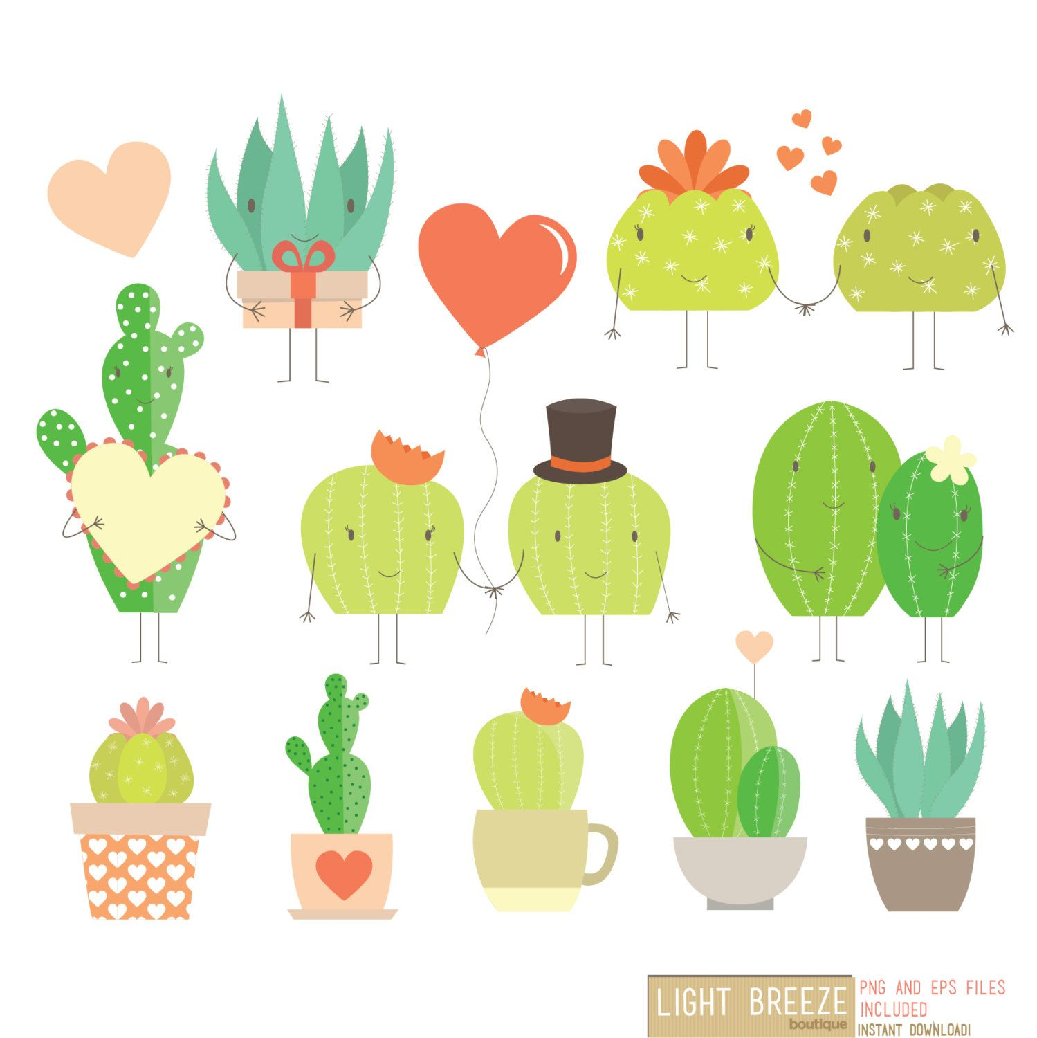 Valentinesjellyfish clipart png royalty free Valentine\'s Day Love Cactus Digital Clipart & Vector Set ... png royalty free
