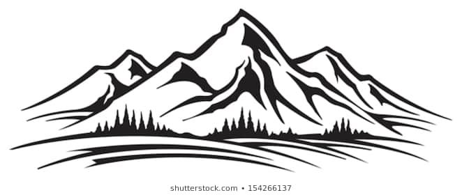 Valley between mountains black and white clipart free library Black and white mountain clipart 2 » Clipart Portal free library