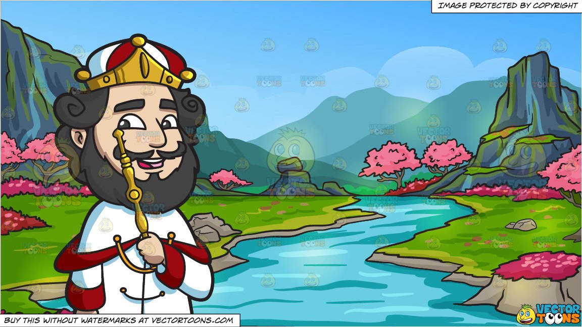 Valley of the king clipart black and white picture freeuse download A Crowned King and A Beautiful Cherry Blossoms Valley Background picture freeuse download