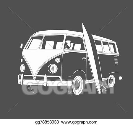 Van and surfboard clipart black and white vector library library EPS Illustration - Icon of retro travel bus with surfboard ... vector library library