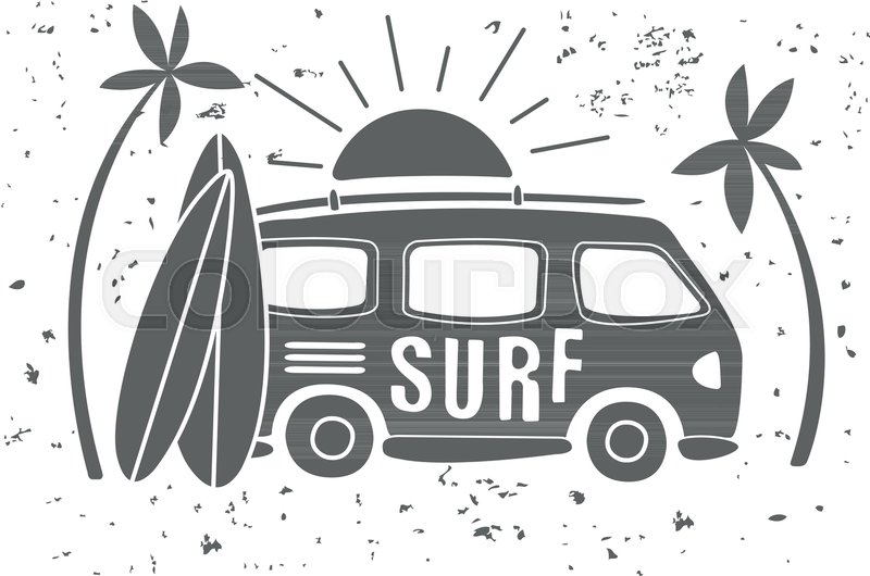Van and surfboard clipart black and white freeuse download Vintage illustration of mini van with ... | Stock vector ... freeuse download