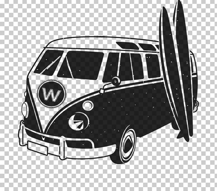 Van and surfboard clipart black and white