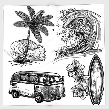 Van and surfboard clipart black and white clip art freeuse Amazon.com : iPrint Polyester Bandana Headband Scarves ... clip art freeuse