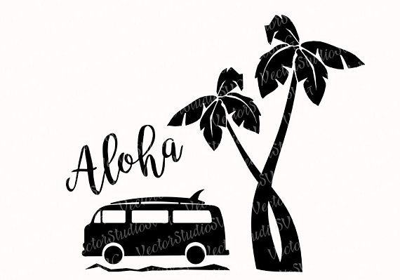 Van and surfboard clipart black and white transparent Aloha SVG Hawaii Tropical Clipart Silhouette Designs Svg VW ... transparent
