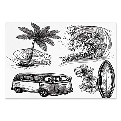 Van and surfboard clipart black and white png free stock Large Wall Mural Sticker [ Surf Decor,Surfing Sport ... png free stock