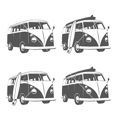 Vintage van clipart black clip library library Vintage camper bus van with surfboards vector by ivanbaranov ... clip library library