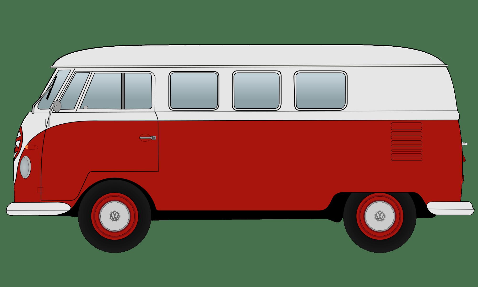 Vw camper clipart graphic free download Red Volkswagen Camper Van Clipart transparent PNG - StickPNG graphic free download