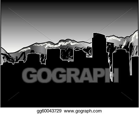 Vancouver state skyline clipart vector royalty free Vector Art - Vancouver skyline with mountains. EPS clipart ... vector royalty free