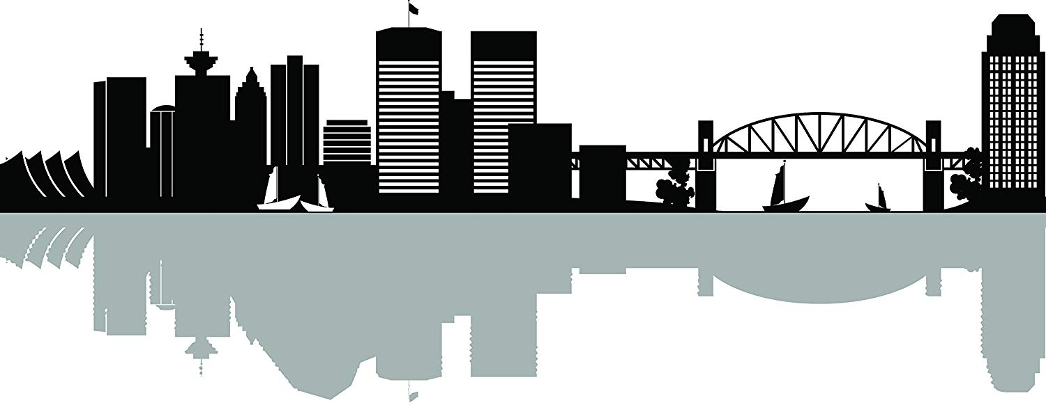 Vancouver state skyline clipart clip art black and white Amazon.com: ChicWalls Removable Vancouver City Skyline ... clip art black and white