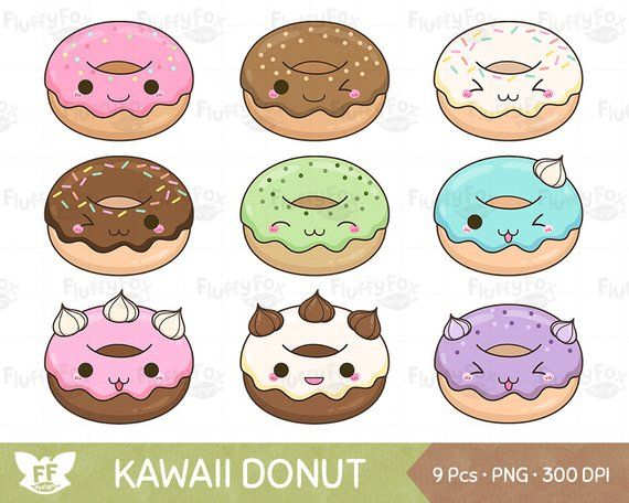 Pastries of all types with faces clipart png download Kawaii Donut Clipart, Doughnut Clip Art, Snack Sweets Cute ... png download