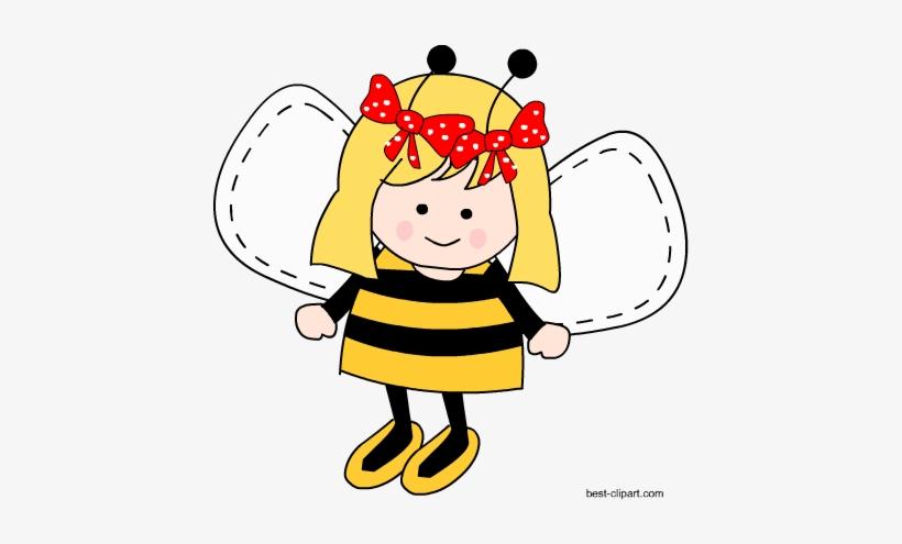 Vanishing girl clipart jpg freeuse download Adorable Bee Girl Free Clip Art Image - Cartoon Transparent ... jpg freeuse download