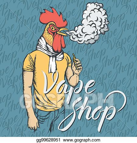 Vape and drinking clipart clip art stock Clip Art Vector - Rooster vaping an electronic cigarette ... clip art stock