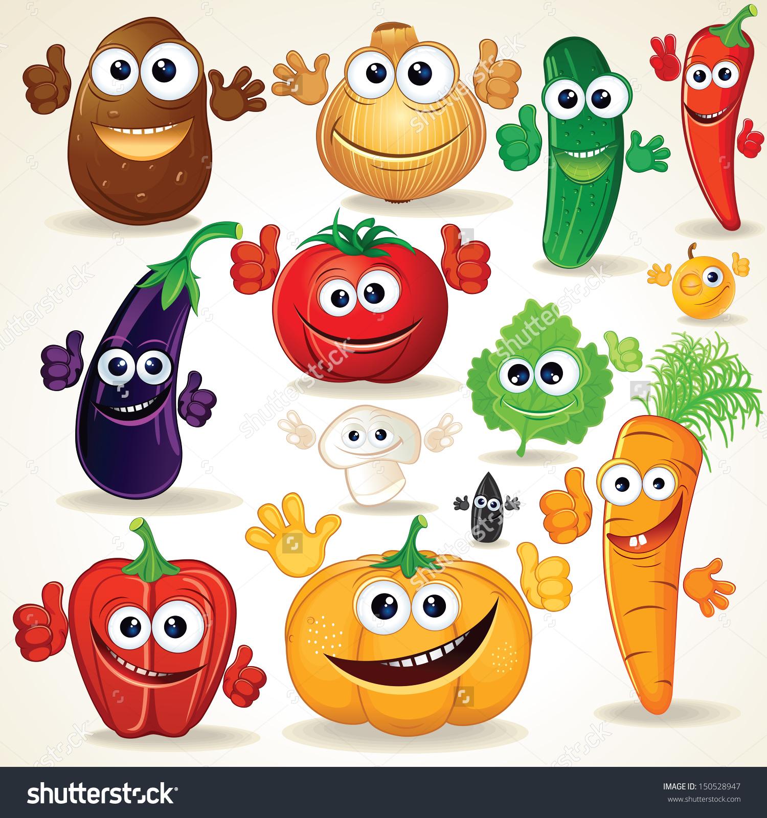 Various cliparts clipart transparent download Funny Various Cartoon Vegetables Vector Clip Stock Vector ... clipart transparent download