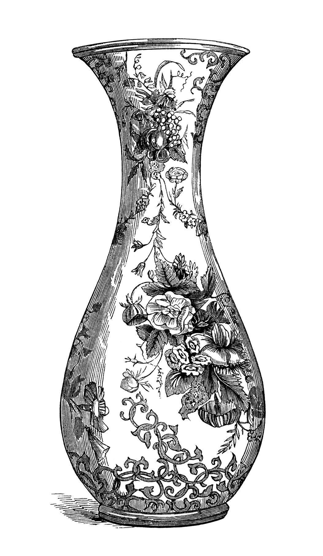 Vases black clipart vector black and white black and white clip art, free vintage image, floral vase ... vector black and white
