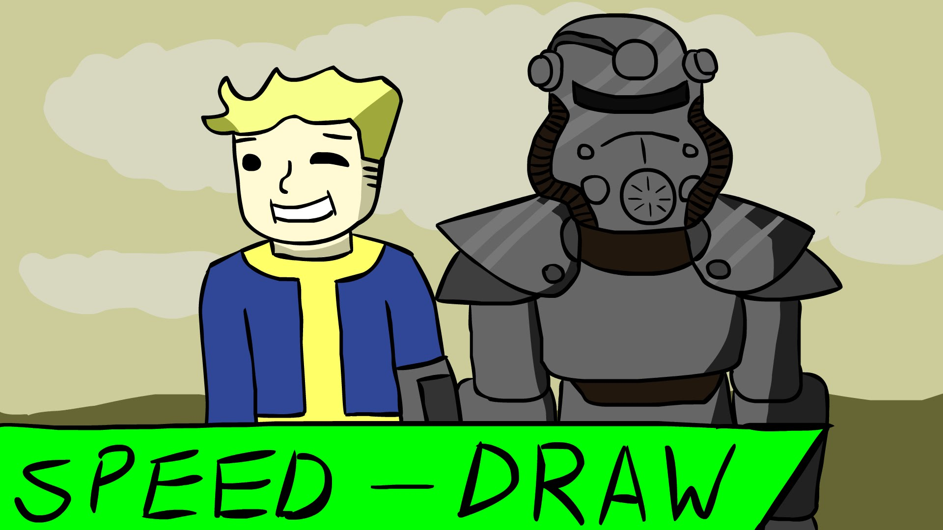 Vault boy clipart jpg black and white library Speed Art] Vault Boy and Power Armor (Fallout) - YouTube jpg black and white library