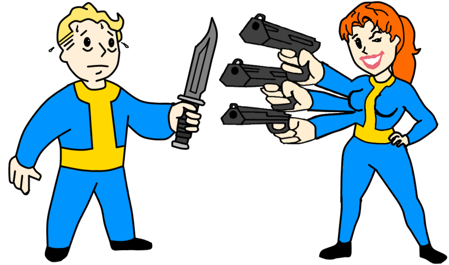 Vault boy girl clipart png royalty free download Vault Boy Vs Vault Girl by UndeadNed on DeviantArt png royalty free download