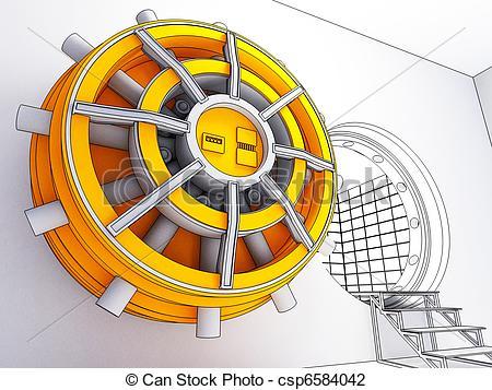 Vault door clipart graphic library stock Clip Art of bank vault door - 3d illustration cartoon style of ... graphic library stock