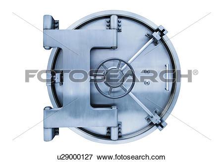 Vault door clipart banner transparent stock Picture of Bank vault door on white background u29000127 - Search ... banner transparent stock