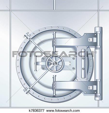 Vault door clipart picture black and white library Clip Art of Illustration of Bank Vault Door k7836377 - Search ... picture black and white library