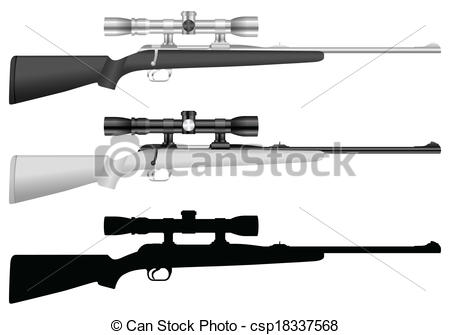 Vector air rifle clipart logo jpg free stock Clip Art Vector of rifle with sight - Rifle set on a white ... jpg free stock