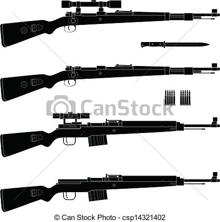 Vector air rifle clipart logo clipart black and white download Vector Clipart of Rifle - Layered vector illustration of antique ... clipart black and white download